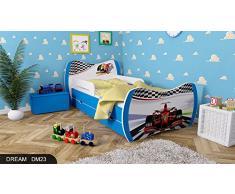 Kinderbett Blau mit Matratze Bettkasten und Lattenrost - verschiedene Motive DM (Formel 1, 180x90)