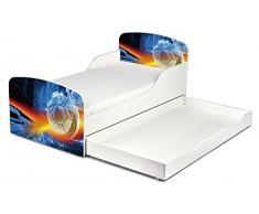 Leomark KINDERBETT 140x70 mit Schublade Funktionsbett Einzelbett mit Matratze Motiv: Ein Ball Sehr Einfache Montage, Bettkasten