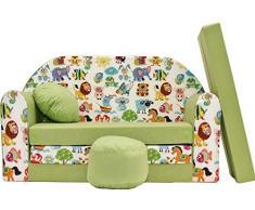 Pro Cosmo Z5 Kinder Sofa Bett mit Puff/Fußbank/Kissen, Stoff, Grün, 168 x 98 x 60 cm