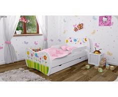 Kinderbett Weiss mit Matratze Bettkasten und Lattenrost - verschiedene Motive DM (Bunte Blumen, 160x80)