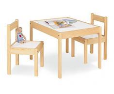 Pinolino Kindersitzgruppe Olaf, 3-teilig, aus Holz, 2 Stühle und 1 Tisch, für Kinder ab 2 Jahren, klar lackiert und Dekor Uni, weiß