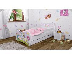 Kinderbett Weiss mit Matratze Bettkasten und Lattenrost - verschiedene Motive DM (Einhorn, 180x90)