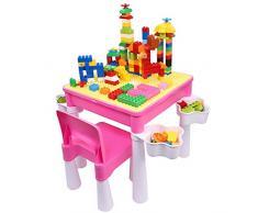 burgkidz Kindertisch mit 1 Stühle mit Stauraum, Maltisch Kindersitzgruppe Kindersitzgarnitur Tisch und Stuhl Set für Prinzessin Mädchen, mit 128 Stück Große Kreative Steine Kinder Lernspielzeug