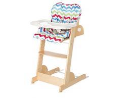 roba Treppenhochstuhl Chill Up, Holz Hochstuhl mit Liegefunktion von Geburt an mitwachsender Babyhochstuhl bis zum Jugendstuhl, mit weichem Polster