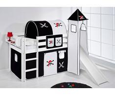 Lilokids Spielbett JELLE 90 x 190 cm Pirat Schwarz Weiß - Hochbett - weiß - mit Turm, Rutsche und Vorhang