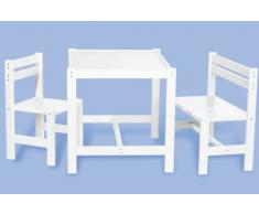 Kindersitzgruppe Timo teilmassiv: weiß lackiert 3- teilig mit 1 Stuhl, 1 Bank, 1 Tisch