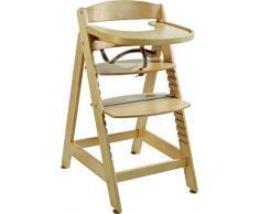 roba Treppenhochstuhl Sit Up MAXI, extragrosser Holz Hochstuhl inkl Essbrett und Bügel, mitwachsend vom Babyhochstuhl bis zum Jugendstuhl, natur