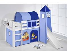 Lilokids Spielbett JELLE Pirat Blau - Hochbett - weiß - mit Turm, Rutsche und Vorhang