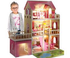 KinderplayGreen Puppenhaus Puppenvilla Puppen Haus - Barbiehaus Traumhaus Holz Puppenstube GS0020 Led-Licht Zubehör Set Garage, Terrasse Groß