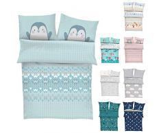 s.Oliver Bettwäsche 100x135 cm Pinguin - Kinderbettwäsche blau 100% Baumwolle hochwertiger Makosatin 2 teiliges Set aus Babybettwäsche 135x100 cm und Kissen 40x60 cm Reißverschluss