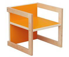 Kindersitzgruppe Michel 3-teilig Birke/Orange in 3 Sitzhöhen Kinderstuhl