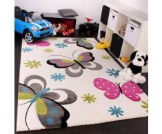Kinder Teppich Schmetterling Design Pink Grün Blau Grau Creme, Grösse:140x200 cm
