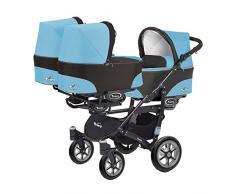 Kinderwagen für Drillinge 3 Gondeln 3 Sportsitze Trippy Kinderwagen 2in1 schwarzer Rahmen (blau 01)