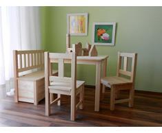 Best of JAM® Kindersitzgruppe aus europäischem Kiefernholz MASSIVHOLZ 1 Tisch 2 Stühle 1 Kindersitzbank mit Deckelbremse und Stauraum (NATUR)