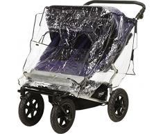 Playshoes Universal Regenverdeck für Geschwister-Buggy, Zwillingskinderwagen Regenhaube, mit Klettverschluss und Gummizug, transparent, one size