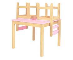ts-ideen Kinder Sitzgruppe Tisch Stühle Holz Set Kinderzimmer Spielmöbel Möbel rosa Sitzecke Kiefernmöbel