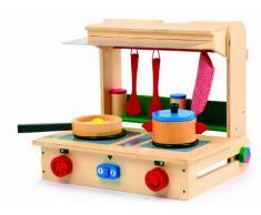 small foot 4732 Kinder-Küche Profi im Koffer aus Holz, mit Herd, Pfanne, Topf, Küchenhelfern und Streuern, ab 3 Jahren