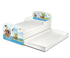 Leomark KINDERBETT 140x70 mit Schublade Funktionsbett Einzelbett mit Matratze 140x70 Sehr Einfache Montage Farbe PIRATEN, Bettkasten