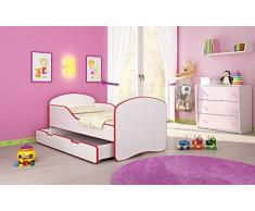 Clamaro Kinderbett Dreamer inkl. Matratze, Lattenrost und Bettkasten, Jugendbett mit ABS Schutzkanten - 140 x 70 cm, Farbe: Rot/Weiß