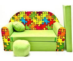 Z34 Kindersofa Ausklappbar Schlafsofa Couch Sofa Minicouch 3 in 1 Baby Set + Kindersessel und Sitzkissen + Matratze