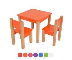 Kindertisch mit 2 stühle - 3 tlg. Set: Sitzgruppe für Kinder - aus Buche und MDF Holz - Tisch + 2 Stühle/Kindermöbel für Jungen & Mädchen Kindersitzgruppe (Orange, Kindertisch mit 2 stühle)