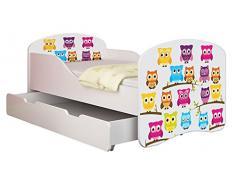 Clamaro Traumland Motiv Kinderbett 80 x 160 cm inkl. Matratze, Lattenrost und Bettkasten Schublade auf Rollen, Kantenschutzleisten und Rausfallschutz, Motiv: 31 - Eule Motiv