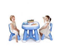 DREAMADE 3 TLG. Kindersitzgruppe Kindermöbel, Kinder Sitzgarnitur, Kinderstuhl & Tisch Set. Kindertisch mit 2 Stühle Kinder Sitzgruppe, Blau