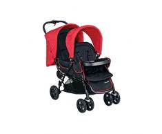Safety 1st Duodeal Geschwister-/Zwillingskinderwagen, kompakt zusammenfaltbar, ab Geburt bis ca. 3,5 Jahre geeignet, rot