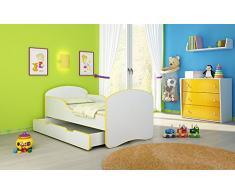Clamaro Kinderbett Dreamer inkl. Matratze, Lattenrost und Bettkasten, Jugendbett mit ABS Schutzkanten - 140 x 70 cm, Farbe: Gelb/Weiß