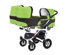Kinderwagen für Drillinge 3 Gondeln 3 Sportsitze Trippy Kinderwagen 2in1 weißer Rahmen (schwarz grün 06)