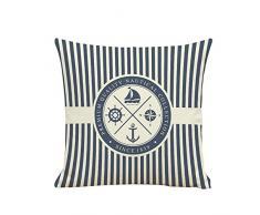 BIGBOBA Leinen Sofakissen-Bezug Piraten Anker Muster Weicher Dekorativ Sofa Kissenbezug Blau-Weiß-Streifen Kissenhülle 45*45cm
