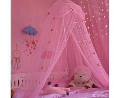 Kinder Moskitonetz Traumhafter Kinder Zimmer rund Lace Kuppel Bett Himmelbett Querbehang Zelt Moskitonetz mit Sternen und Schmetterling Netz Vorhänge Baby Jungen und Mädchen Spiele House