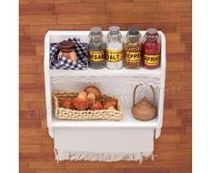 Odoria 1/6 Miniatur Möbel Küchen Hängeschrank Wandschrank mit Flaschen Tassen und Eier Holz Weiß Für Puppenhaus Möbel Zubehör