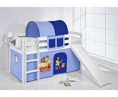Lilokids Spielbett JELLE 90 x 190 cm Pirat Blau - Hochbett - weiß - mit Rutsche und Vorhang