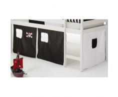 Vorhang Gardine Bettvorhang CLASSIC zu Hochbett Rutschbett Spielbett in schwarz/weiss PIRAT