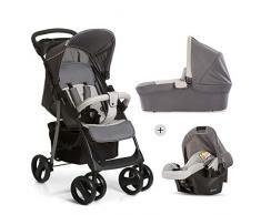Hauck Shopper SLX Trio Set/Kombi 3 in 1 Kinderwagen/Babyschale/Sportwagen, Gr. 0, Babywanne mit Matratze, bis 25 kg, Liegefunktion, Getränkehalter, leicht, klein faltbar, stone/grey