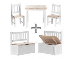 Impag Kindersitzgruppe aus Kiefer Massivholz 1 x Tisch, 2 x Stühle, 1 Truhenbank mit Deckelbremse