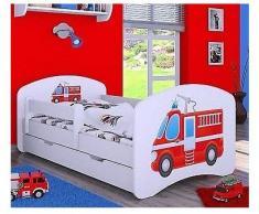 naka24 Kinderbett mit Matratze und Bettkasten für Jungen weiß (Feuerwehr, 160x80 cm)