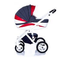 Kombi Kinderwagen Travel System Adamex Barletta New B10 3in1 Buggy Sportwagen Babyschale Autositz in schwarz Kite 0-13kg (2in1)