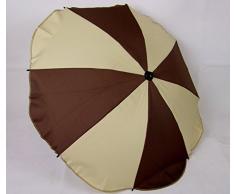 BAMBINIWELT Sonnenschirm für Kinderwagen *20 FARBEN* Ø68cm UV-Schutz50+ Schirm Sonnensegel Sonnenschutz (Beige/Braun)
