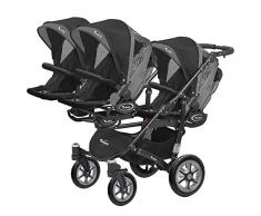 Kinderwagen für Drillinge Säugling und ältere Zwillinge 1 Gondel 3 Sportsitze Trippy Kinderwagen 2in1 schwarzer Rahmen (schwarz graphit 04)