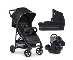 Hauck Rapid 4 Plus Trio Set 3 in 1 Kinderwagen Set bis 25 kg, isofix-fähige Babyschale, Babywanne mit Matratze ab Geburt, höhenverstellbarer Griff, klein faltbar, leicht, caviar/black