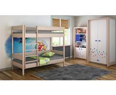 Childrens Beds Home Etagenbetten - Kinder Kinder Juniors Single Mit 2 Schaumstoffmatratzen, Aber ohne Schubladen (160x80, Eiche hell)