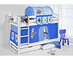 Lilokids Etagenbett JELLE Pirat Blau - Hochbett - weiß - mit Vorhang und Lattenroste