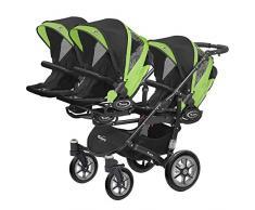 Kinderwagen für Drillinge Säugling und ältere Zwillinge 1 Gondel 3 Sportsitze Trippy Kinderwagen 2in1 schwarzer Rahmen (schwarz grün 06)