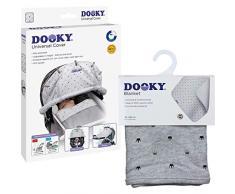 Original Dooky Combi Pack Cover & Decke im Light Grey Crown Design Universal Sonnenschutz, Wetterschutz Set für Babyschale, Kinderwagen und Buggy (universale Passform mit Klettband, UV-Schutz LSF 40+)