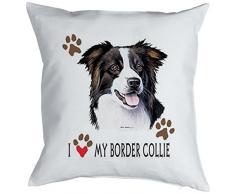 Kissen mit Hunde Motiv, Sofakissen komplett mit Füllung, Dekokissen für Hundefreunde - I love my Border Collie