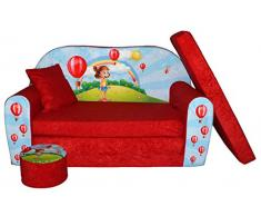 Kindersofa Kindercouch Aufklappen Bettfunktion + Hocker W319 Viele Muster (Girl Red)