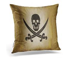 Accrocn Quadratisch Überwurf Kissenbezüge Vintage Jolly Roger Piraten Flagge Kopfkissen Polyester 45,7 x 45,7 cm mit Verstecktem Reißverschluss Home Kissenbezug Sofa Kissen Deko
