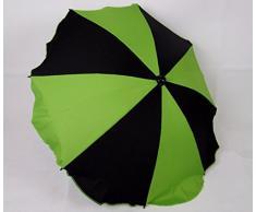 BAMBINIWELT Sonnenschirm für Kinderwagen *20 FARBEN* Ø68cm UV-Schutz50+ Schirm Sonnensegel Sonnenschutz (Schwarz/Grün)